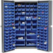 Global Industrial™ Bin Cabinet Deep Door - 132 Blue Bins, 16-Gauge Assembled Cabinet 38x24x72