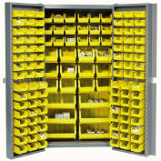 Global Industrial™ Bin Cabinet Deep Door - 132 Yellow Bins, 16-Gauge Assembled Cabinet 38x24x72