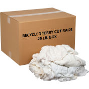 Global Industrial™ Premium Recycled White Cotton Terry Cut Rags, 25 Lb. Box