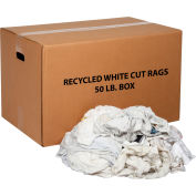 Global Industrial™ Recycled White Cut Rags, 50 Lb. Box