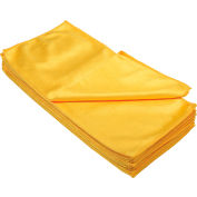 "Global Industrial™ 266 GSM Microfiber Glass Cleaning Cloths, 16"" x 16"", Gold, 12 Cloths/Pack"
