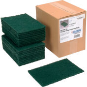"""Global Industrial™ Heavy Duty Scouring Pads, Green, 6"""" x 9"""" - Case of 15 Pads"""