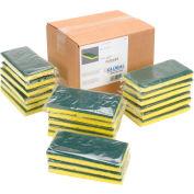 """Global Industrial™ Heavy Duty Scrub Sponge, Yellow/Green, 3.25"""" x 6.25"""" - Case of 20 Sponges"""