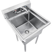 "Global Industrial™ Stainless Steel Utility Sink W/Faucet & 10"" Backsplash, 18""x18""x12"" Deep"