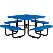 """Global Industrial™ 46"""" Square Outdoor Steel Picnic Table - Perforated Metal - Blue"""