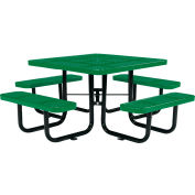 """Global Industrial™ 46"""" Square Outdoor Steel Picnic Table - Perforated Metal - Green"""