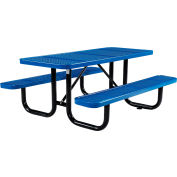 Global Industrial™ 6 ft. Rectangular Outdoor Steel Picnic Table - Perforated Metal - Blue