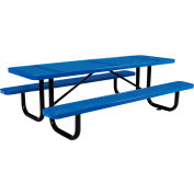Global Industrial™ 8 ft. Rectangular Outdoor Steel Picnic Table - Perforated Metal - Blue