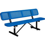 Global Industrial™ 6 ft. Outdoor Steel Picnic Bench with Backrest - Perforated Metal - Blue