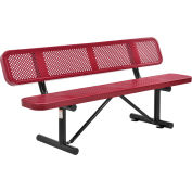 Global Industrial™ 6 ft. Outdoor Steel Picnic Bench with Backrest - Perforated Metal - Red