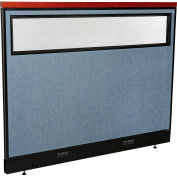 "Interion® Deluxe Electric Office Partition Panel with Partial Window, 60-1/4""W x 47-1/2""H, Blue"