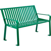 Global Industrial™ 4 ft. Outdoor Park Bench with Back - Steel Slat - Green