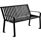 Global Industrial™ 4 ft. Outdoor Park Bench with Back - Steel Slat - Black