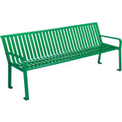 Global Industrial™ 8 ft. Outdoor Park Bench with Back - Steel Slat - Green