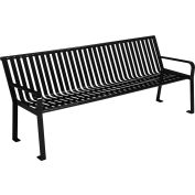 Global Industrial™ 8 ft. Outdoor Park Bench with Back - Steel Slat - Black