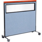 "Interion® Mobile Deluxe Office Partition Panel with Partial Window, 48-1/4""W x 46-1/2""H, Blue"