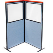 "Interion® Deluxe Freestanding 2-Panel Corner Divider w/Partial Window 36-1/4""W x 73-1/2""H Blue"