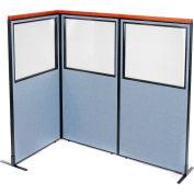 "Interion® Deluxe Freestanding 3-Panel Corner Divider w/Partial Window 36-1/4""W x 73-1/2""H Blue"