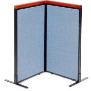 "Interion® Deluxe Freestanding 2-Panel Corner Room Divider, 24-1/4""W x 43-1/2""H Panels, Blue"
