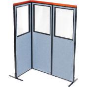"Interion® Deluxe Freestanding 3-Panel Corner Divider w/Partial Window 24-1/4""W x 73-1/2""H Blue"