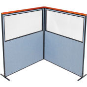 "Interion® Deluxe Freestanding 2-Panel Corner Divider w/Partial Window 60-1/4""W x 73-1/2""H Blue"