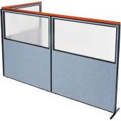 "Interion® Deluxe Freestanding 3-Panel Corner Divider w/Partial Window 60-1/4""W x 73-1/2""H Blue"