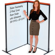 "Interion® Deluxe Freestanding 2-Panel Corner Room Divider with Whiteboard, 36-1/4""W x 61-1/2""H"
