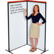 "Interion® Deluxe Freestanding 2-Panel Corner Room Divider with Whiteboard, 36-1/4""W x 73-1/2""H"