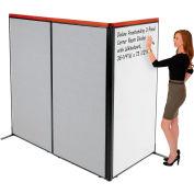 "Interion® Deluxe Freestanding 3-Panel Corner Room Divider w/Whiteboard 36-1/4""W x 73-1/2""H Gray"