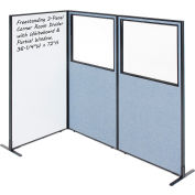 "Interion® 3-Panel Corner Room Divider with Whiteboard & Partial Window, 36-1/4""W x 72""H, Blue"