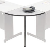 "Interion® Rounded Corner Tabletop with Support Post, 24"" Radius, Gray"