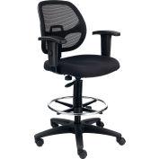 Interion® Mesh Back/Fabric Seat Drafting Stool, Black