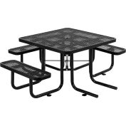 "Global Industrial™ 46"" Wheelchair Accessible Square Outdoor Steel Picnic Table, Black"