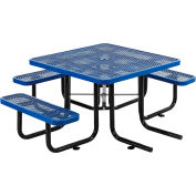 """Global Industrial™ 46"""" Wheelchair Accessible Square Outdoor Steel Picnic Table, Blue"""