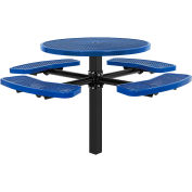 """Global Industrial™ 46"""" Round In-Ground Mount Outdoor Steel Picnic Table, Expanded Metal, Blue"""