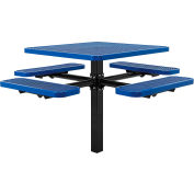 """Global Industrial™ 46"""" Square In-Ground Mount Outdoor Steel Picnic Table, Expanded Metal, Blue"""