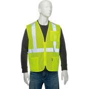 "Global Industrial Class 2 Hi-Vis Safety Vest, 2"" Reflective Strips, Polyester Mesh, Lime, Size L"