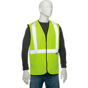 """Global Industrial Class 2 Hi-Vis Safety Vest, 2"""" Reflective Strips, Solid, Lime, Size 2XL/3XL"""