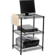 """Nexel™ 3-Shelf Black Wire Shelf Printer Stand with Document Holder, 24""""W x 18""""D x 34""""H"""