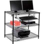 "Nexel™ 3-Shelf Wire Computer LAN Workstation with Keyboard Tray, 36""W x 24""D x 34""H, Black"