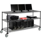 """Nexel™ 3-Shelf Mobile Wire Computer LAN Workstation, 72""""W x 24""""D x 40""""H, Black"""