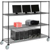"""Nexel™ 4-Shelf Mobile Wire Computer LAN Workstation, 72""""W x 24""""D x 69""""H, Black"""