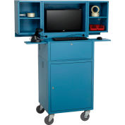 Global Industrial™ Mobile Fold-Out Computer Security Cabinet, Blue, Assembled