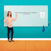 """Global Industrial™ Wall-Mounted Magnetic Glass Whiteboard, 96""""W x 48""""H"""