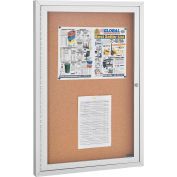 "Global Industrial™ Enclosed Bulletin Board - Cork - Aluminum Frame - 24"" x 36"" - 1 Door"
