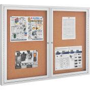 "Global Industrial™ 2 Door Enclosed Cork Bulletin Board With Aluminum Frame, 48"" x 36"""
