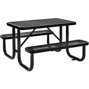 Global Industrial™ 4 ft. Rectangular Outdoor Steel Picnic Table, Expanded Metal, Black
