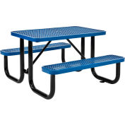 Global Industrial™ 4 ft. Rectangular Outdoor Steel Picnic Table - Expanded Metal - Blue