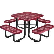 Global Industrial™ 3 ft. Square Outdoor Steel Picnic Table - Expanded Metal - Red