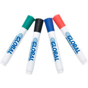 Global Industrial Dry Erase Marker, 4 Assorted Colors - Pack of 5